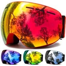 Óculos de esqui, óculos de esportes de neve de inverno com proteção uv anti nevoeiro para jovens lente intercambiável premium