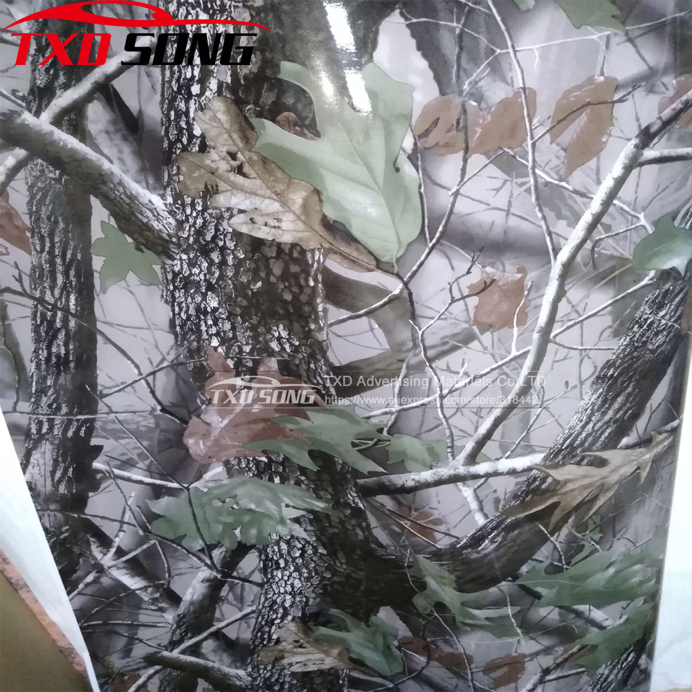 1 52MX5M 10M 15M 20M 30M Lot Real Tree Camouflage vinyl film Digital printing Tree Camo