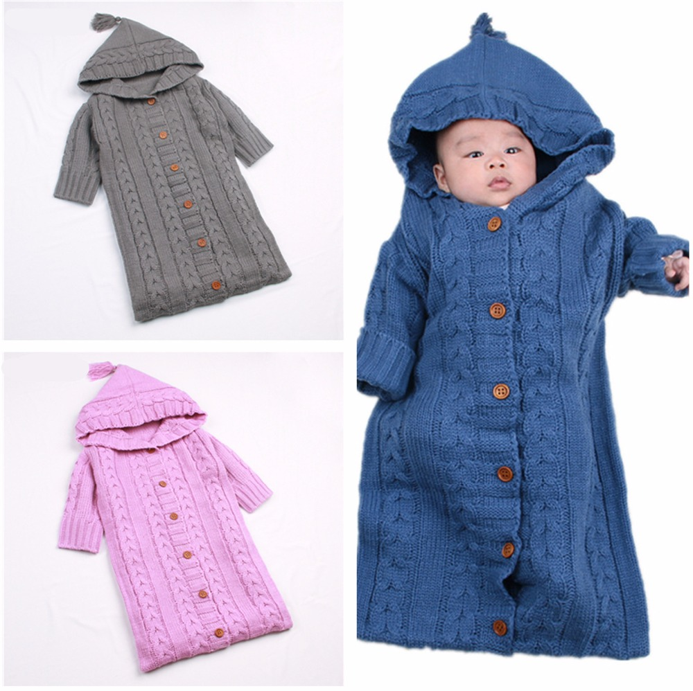 Baby Full Sleeved <font><b>Sleeping</b></font> Bag Warm Knit Sleepsack 0-12 Months Newborn Toddler Infant Knitted <font><b>Sleeping</b></font> Sacks Stroller Wrap 0-12M