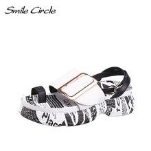 Smile Circle 2019 Summer sandals Women Flat platform shoes Women Fashion Outdoor Open toe casual sandals Metal buckle mvvjke summer women shoes woman genuine leather flat sandals casual open toe sandals women sandals