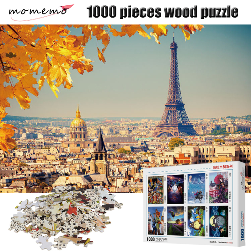 MOMEMO Eiffel Tower Wooden Puzzle 1000 Pieces France Autumn Landscape Jigsaw Puzzle Adults Children Assembling Puzzles Game Toys