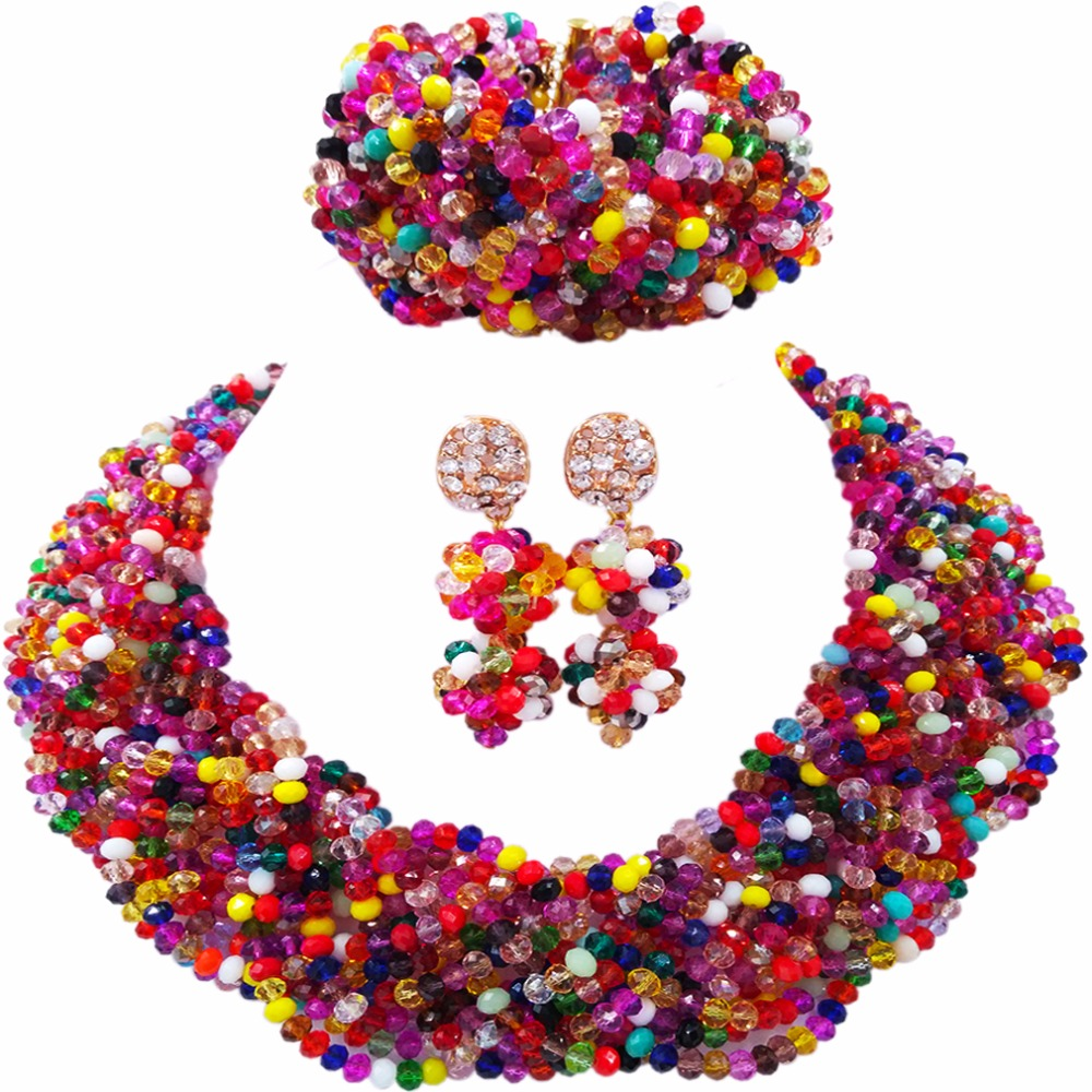 Beautiful Multicolors Crystal Beaded Necklaces Costume Nigerian Wedding African Beads Jewelry Set for Women 12BZ10Beautiful Multicolors Crystal Beaded Necklaces Costume Nigerian Wedding African Beads Jewelry Set for Women 12BZ10