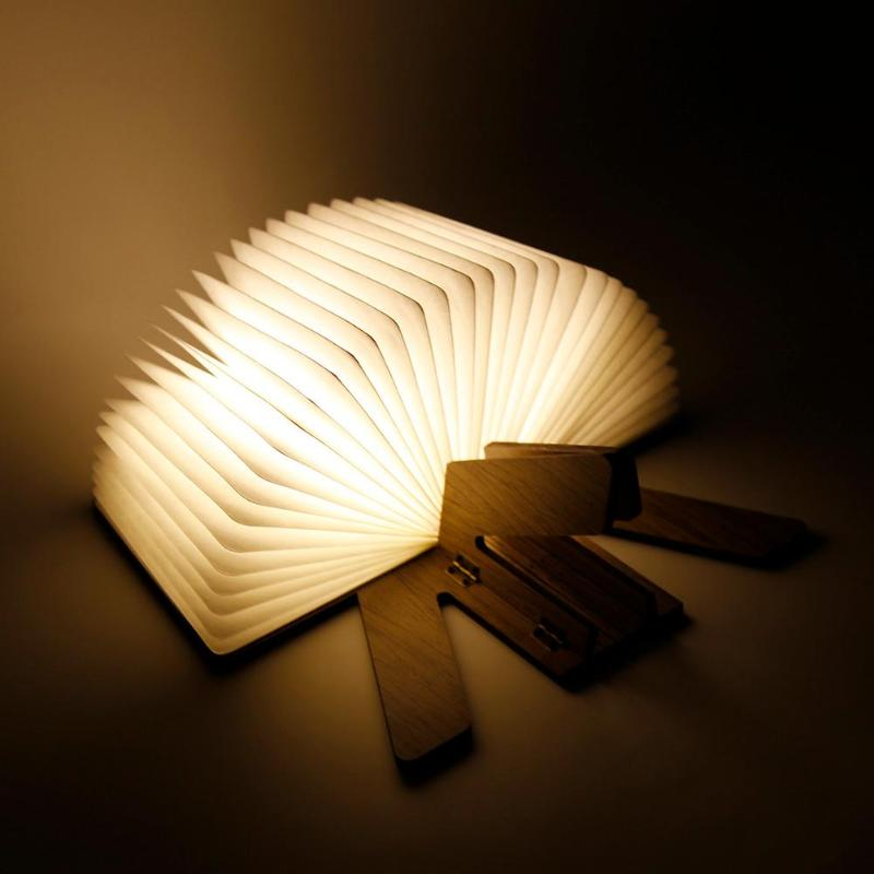 3.7V DC 5V USB Rechargeable Foldable Wooden Book Shape LED Desk Lamp Night Table Light Book Lamp for Book Store Decoration 5 colors foldable book light usb rechargeable chandelier wall led night light bedside lamp for book lover friends christmas gift