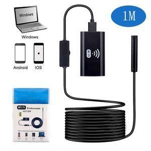 Image 1 - 8mm Lens HD720P Wifi Endoscope Camera with 1m Soft&Hard Wire Waterproof  Borescope inspection Camera for Android IOS iPhone