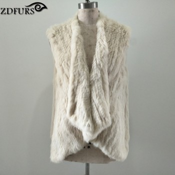 FXFURS New Arrival Women Knitted  Rabbit Fur Vests Fur Gilet Sleeveless  Loose style big size Knit Fur Waistcoat Female