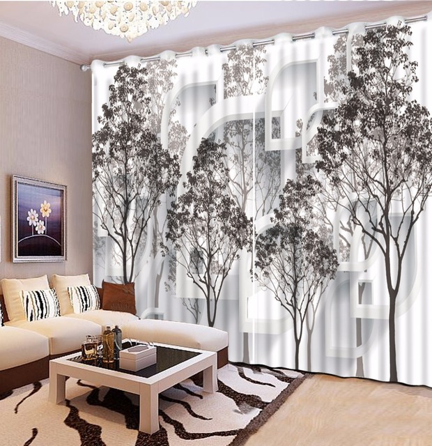 Us 6165 55 Offblack And White Tree Blackout 3d Curtain Living Room Bedroom Curtains Decoration Pastoral Style Sheer Curtains In Curtains From