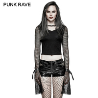 PUNK RAVE Black Punk Rock Mermaid Mesh Special Long Sleeves T shirt V Neck Women Skinny with Woman Short Harajuku Crop Top