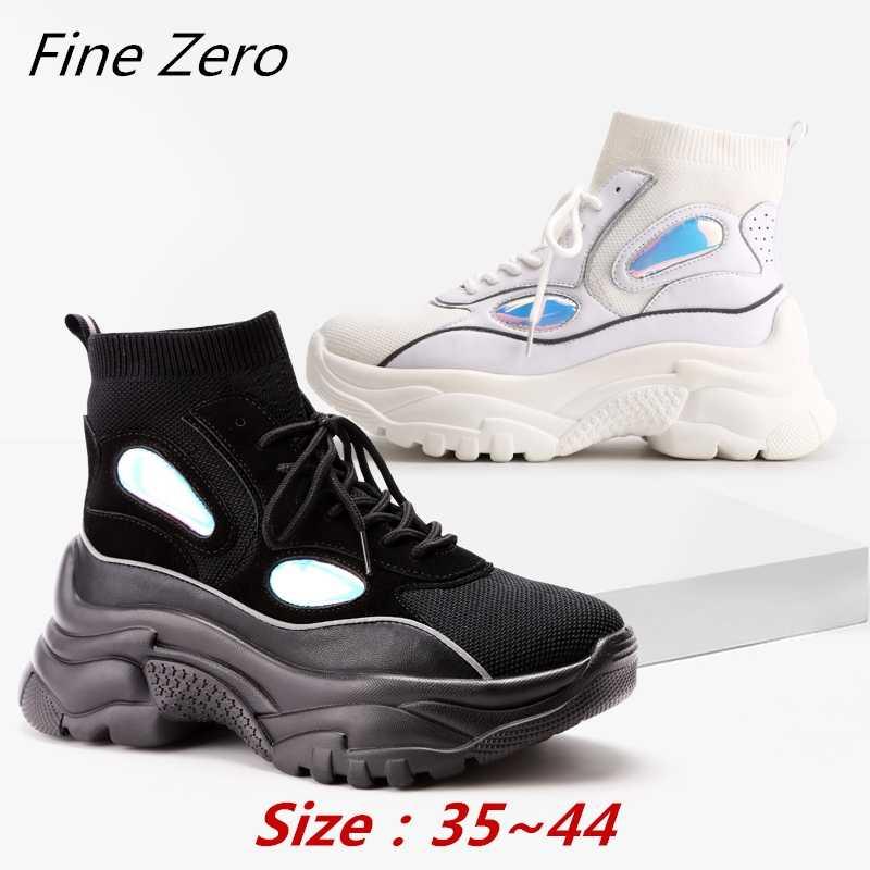 ฤดูหนาว Warm High Top รองเท้าผ้าใบผู้หญิงข้อเท้ารองเท้าถุงเท้ารองเท้าผู้หญิง Unisex พ่อ Chunky รองเท้าผ้าใบ Zapatos De MuJjer