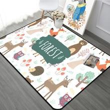 Детский ковер с лесным животным в скандинавском стиле, детские коврики для гостиной, детская комната, игровой коврик для ползания, рождественские коврики
