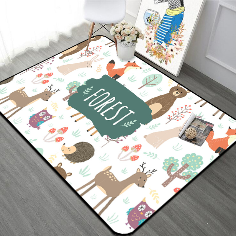 Forest Animal Children Carpet Nordic Style Kids Area Rugs For Livingroom Children's Room Play Crawling Floor Mat Christmas Rugs