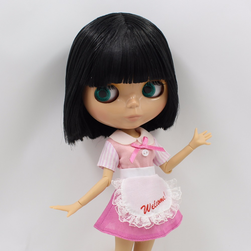 Neo Blythe Doll with Black Hair, Tan Skin, Shiny Face & Jointed Body 3