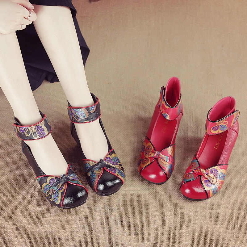 Xiuteng 2020 ผู้หญิงปั๊มสบายๆสไตล์ MED Heel ฤดูใบไม้ผลิ Elegant ตื้นหนารองเท้าหนังแท้รองเท้าแตะ