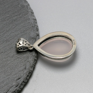 Image 4 - Real 925 Sterling Silver Gemstone Pendants Natural Madagascar Rose Quartz Small Water Drop Elegant Crystal Jewelry For Women