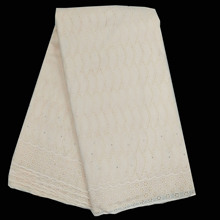 African lace fabrics 5 yards polish with stone 100% cotton voile beads