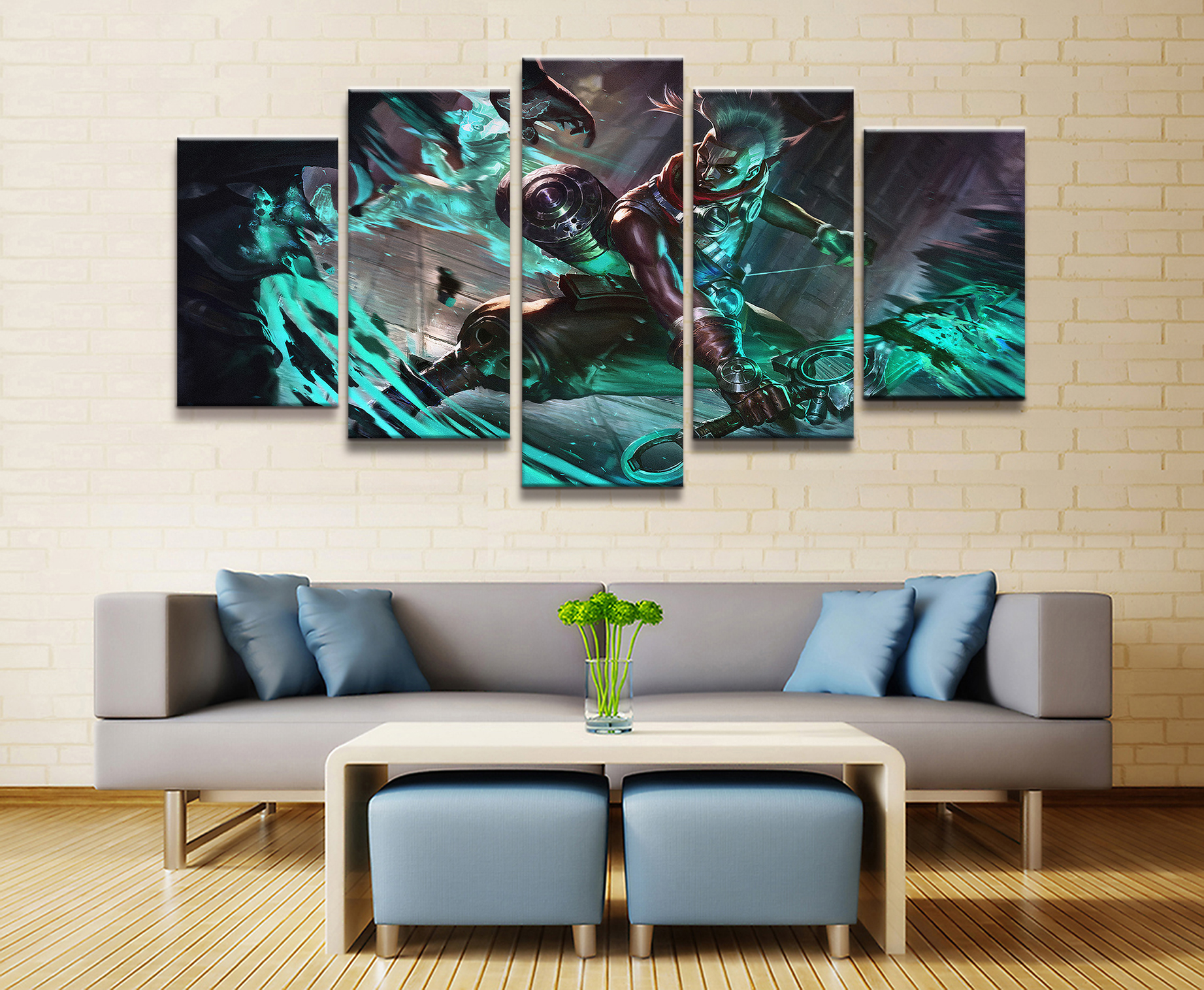 5 Panel Ekko LOL League of Legends Game Canvas Printed Painting For Living Room Wall Art Decor HD Picture Works Poster in Painting Calligraphy from Home Garden