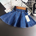 Girls Denim skirt Rivet Mini skirt Fashion lovely tutu Cowboy Umbrella skirts Solid jeans clothes pettiskirt Pleated cute skirts