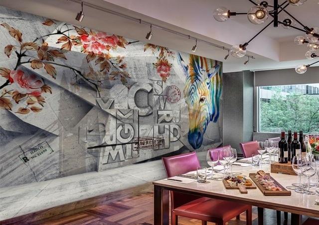 Retro Moderne Tapete Farben Briefe 3d Stereoskopische Wohnzimmer Bar Fototapeten Fur Wand Cafe Hintergrund