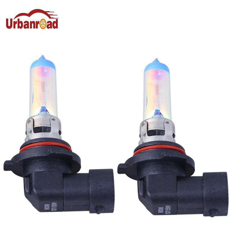 Галогенная лампа Urbanroad, 2 шт., HB4 9006(P22d), 12 В/55 Вт, Универсальный сменный светильник золотого цвета радужного цвета, противотуманный светильник