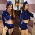 Women Nightclub Sexy Stewardess Uniforms Female Police Tight Package Hip Skirt Set Student Role-playing Cosplay Costume Lingerie