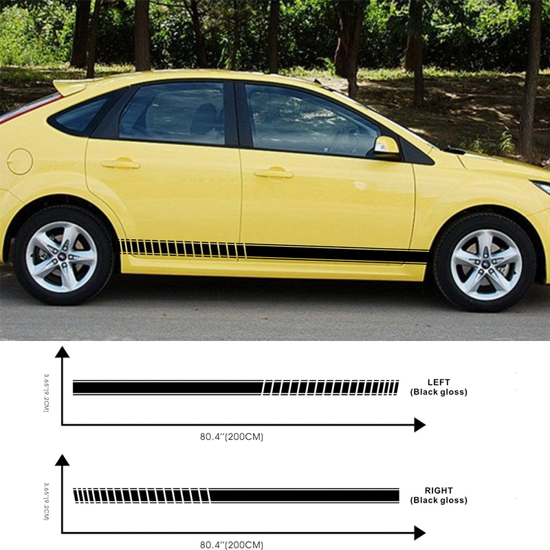 Automobile Car Racing Flags Stripe Lower Door Panel Decal For Foucs Vinyl Side Sticker Car Styling D3-254 Careful Calculation And Strict Budgeting Car Stickers