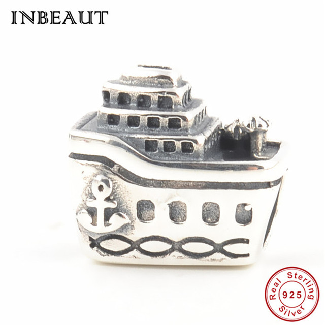 9f397ab9b Silver Original 925 Cruise Ship Beads fit Pandora Bracelet Sterling Silver  Big Tourist Boat Charm Trendy Chain Jewelry Accessory