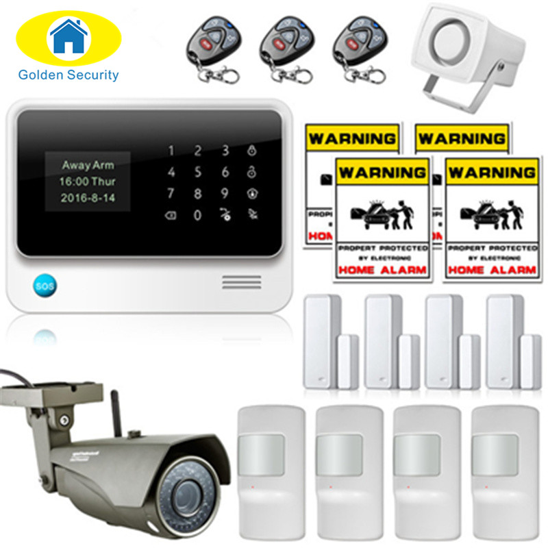Golden Security WiFi Home Security GSM Alarm G90B Plus 2G Home Protection GPRS Alarm System  APP Control with outdoor IP Camera цена и фото