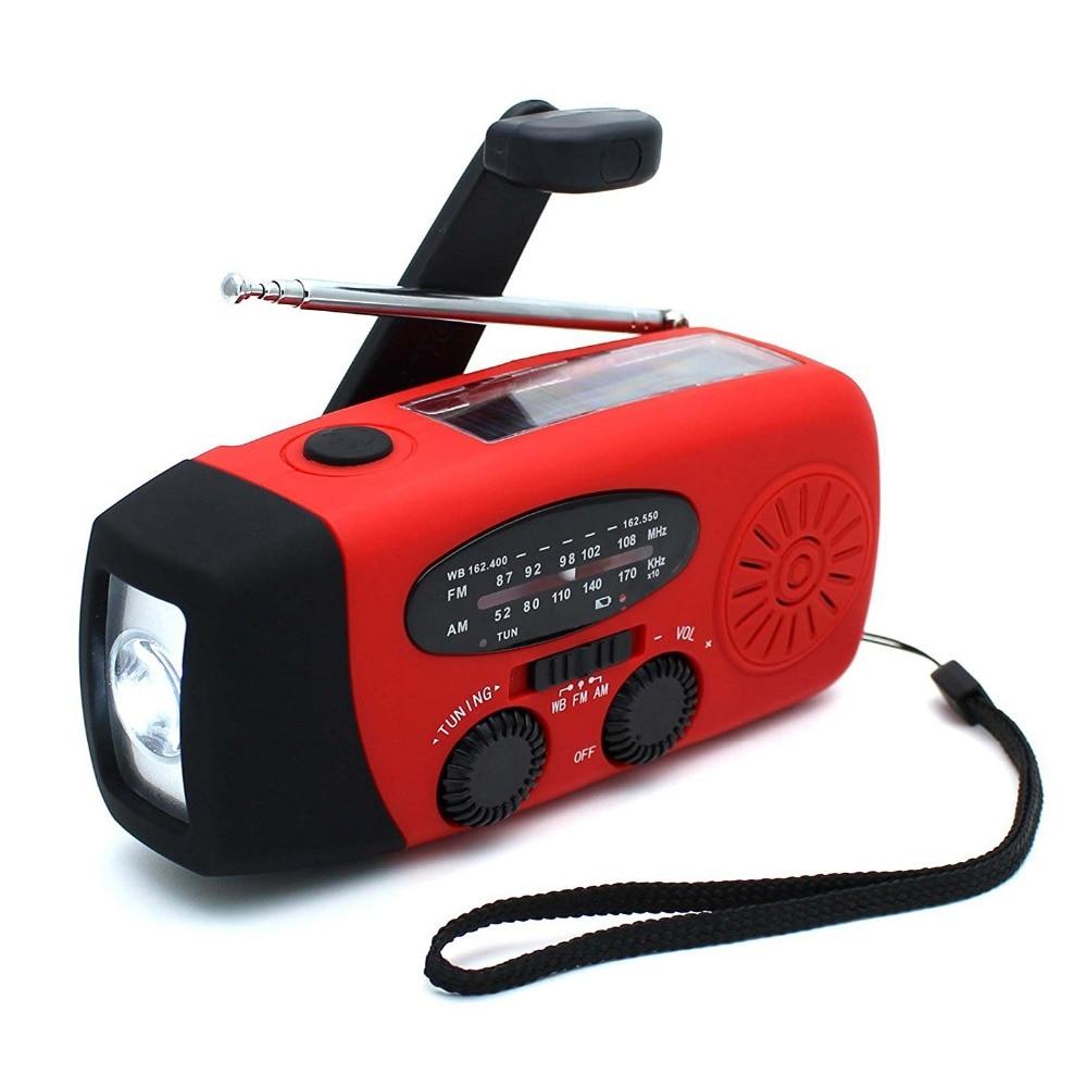 Hand Crank Solar Radio Dynamo AM FM WB Emergency Radio With USB Phone Charger Flashlight