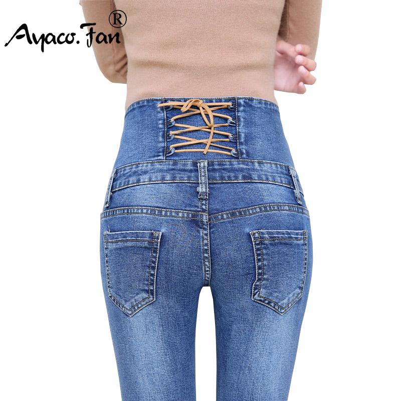 66766d954 Primavera outono calças de Brim Das Mulheres de Cintura Alta Elastic Skinny  Jeans Longo Calças Lápis Voltar Cruz Calças Jeans Mulher Camisa Feminina