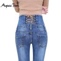 Autumn Spring Jeans Womens High Waist Elastic Skinny Denim Long Pencil Pants Back Cross Woman Jeans