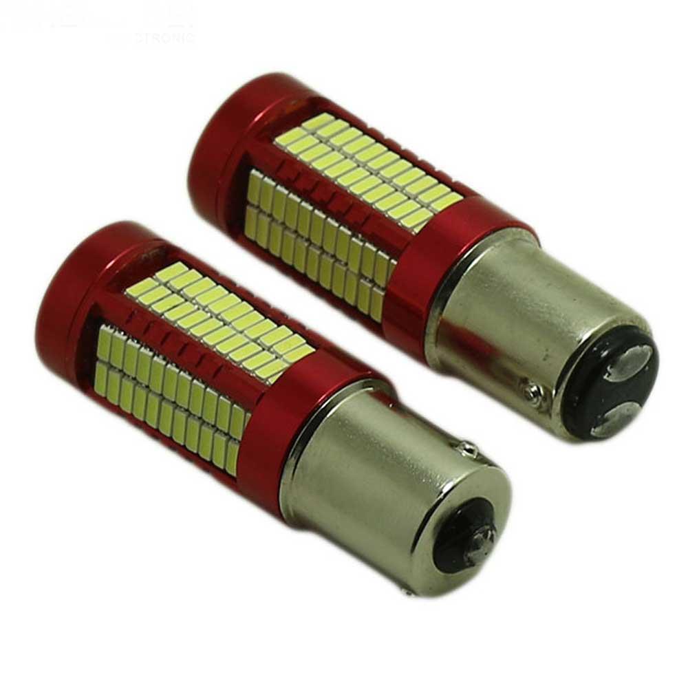 2Pcs Strobe SMD Brake Light Bulbs 1156BA15S 1157BA15D 4014 106SMD LED Plug Reverse Lights Tail Lamp Auto Car Brake Lamp White