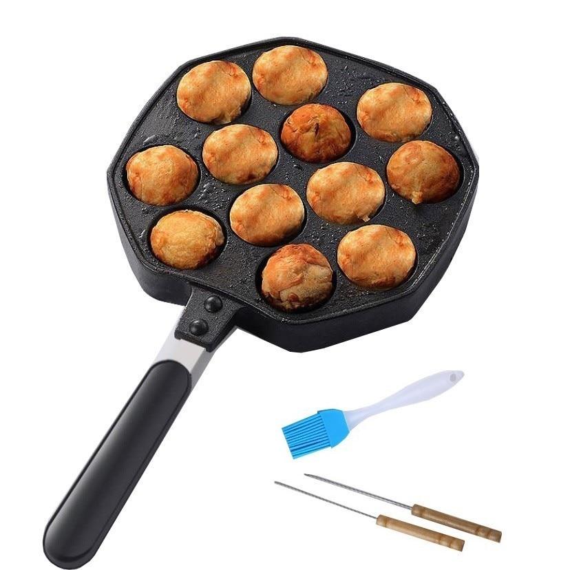 12 Holes Aluminum Alloy Takoyaki Grill Pan Octopus Ball Maker Chibi Maruko Machine Meatball Mold Nonstick Baking Forms Bakeware