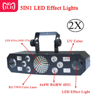 New 5IN1 DJ Laser stage light Full Color RGB or 48 RG Patterns Projector 4X3W UV CREE Single Color LED Stage Effect Lighting