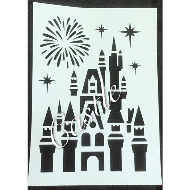 A4 Size Castle Fireworks Scrapbooking Tool Card Diy Album Masking