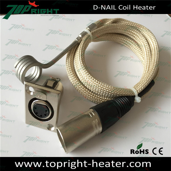 ID16x12 7mm Enail Coil Heater with yellow fiberglass sleeve