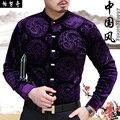 Новое поступление мужской моды тан костюм китайский стиль стоять воротник плюс бархатные тепловая рубашка с длинным рукавом мужская печати тонкие рубашки