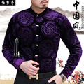 New arrival male fashion tang suit chinese style stand collar plus velvet thermal long-sleeve shirt men's print thin shirt