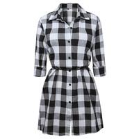 Women Oversized Pleated Plaid Dress Summer Elegant Checkered Sleeve Loose Casual Mini Dree Sweet Dresses Vestidos