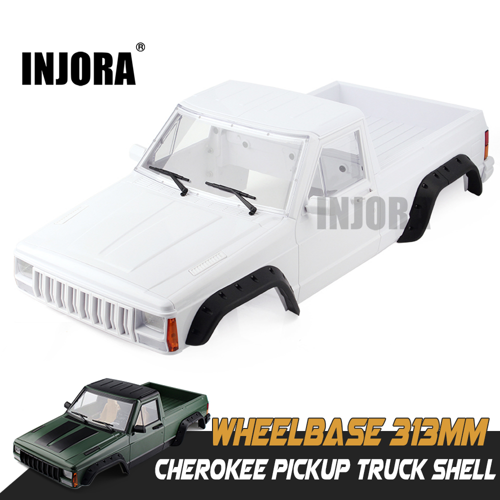INJORA Hard Plastic 313mm Wheelbase Cherokee Pickup Truck Car Shell Kit for 1/10 RC Crawler Axial SCX10 & SCX10 II 90046 90047 rc car crawlers frame bracket for axial scx10 adjustable wheelbase 313mm 305mm 290mm