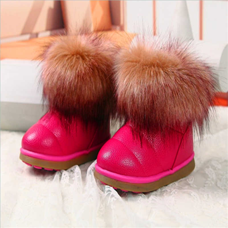 Winter Mode kind meisjes snowboots schoenen warm pluche zachte bodem meisjes laarzen lederen winter sneeuw boot voor 3- 12 jaar oude meisjes