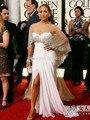 Blanco 2017 Formal Celebrity Dresses Sirena Cariño Gasa Con Cuentas de Hendidura Largo Vestido de Noche de Famosos Vestidos de la Alfombra Roja