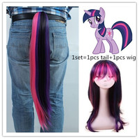 1set Unicorn Princess Twilight Sparkle Cosplay Wig+Tail Party Hats for Halloween Christmas Party Supplies