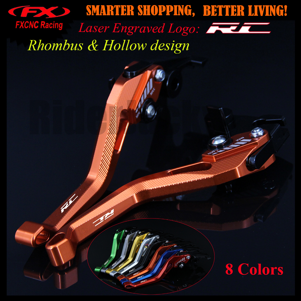 3D Rhombus Hollow Design Patent For KTM RC125/125 Duke 2014 2015 2016 2017 Orange CNC Motorcycle Brake Clutch Levers With Logo for ktm rc390 rc200 rc125 125 duke high quality motorcycle cnc foldable extending brake clutch levers folding extendable lever
