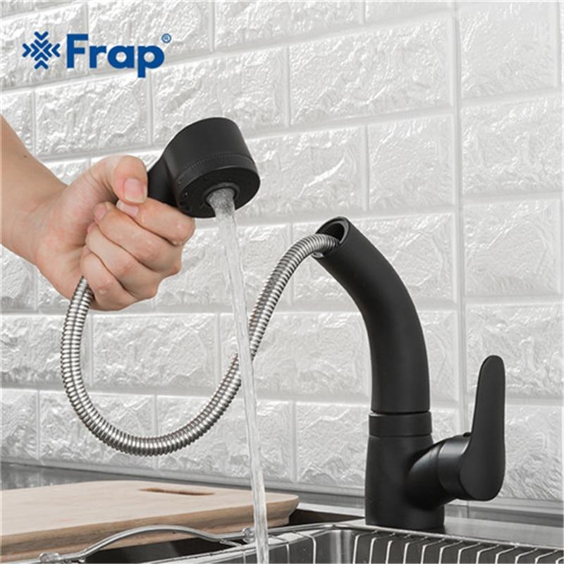 FRAP negro mate lavabo grifo solo palanca Pull Out pulverizador caño giratorio cocina grifo del fregadero grifo altura ajustable Y10130