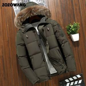 Image 4 - Мужская зимняя куртка на белом утином пуху, модная Толстая теплая парка с мехом, Повседневная Водонепроницаемая пуховая куртка, 90% пуха