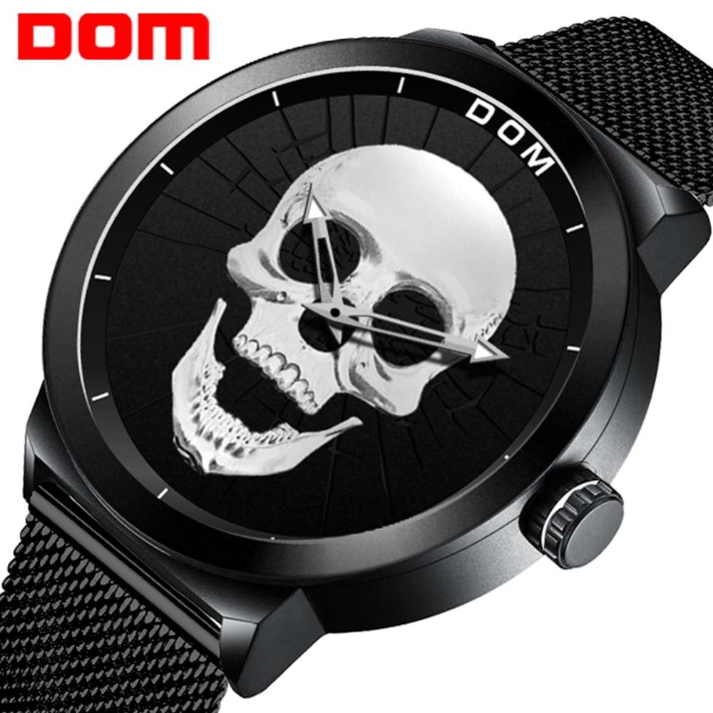 Men's Watch DOM Cool Bone Luxury Brand M-1231 Creative Clock Black Male Watch Skull Style Quartz Men Watches relogio masculino