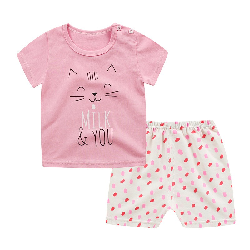 Hot Sale Kids Summer Short Sleeve Bodysuit Baby Girls Boys Clothes Cotton Children Clothing Suit Cartoon Body Suit