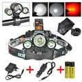 3 Modos T6 2R2 Rojo LED Lanterna Bici de la Luz Delantera 5000 Lúmenes Linterna de Caza Lámpara de la Linterna Head + Ac + Cargador de coche + 2x18650 Batería
