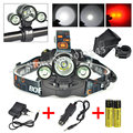 3Modes T6+2R2 Red LED Lanterna Bike Front Light 5000 Lumen Hunting Flashlight Headlight Head Lamp+Ac+Car Charger+2x18650 Battery