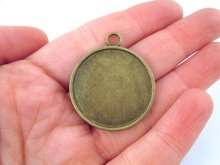 30mm brass pendant settings, double sided, pick your amount, B106theof