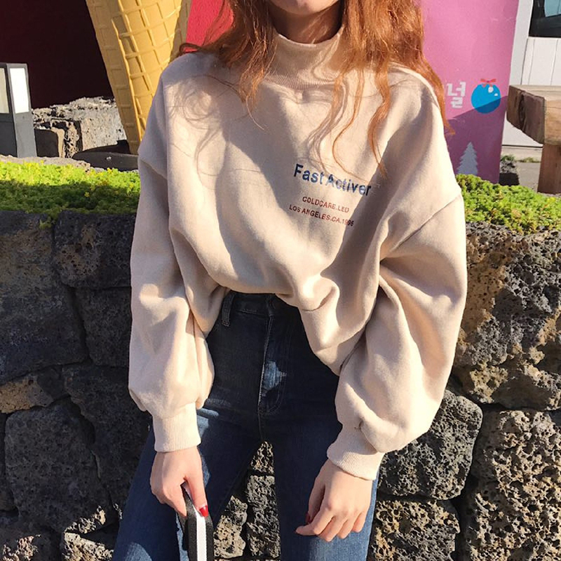 2018 Autumn Women Sweatshirts Casual Long Sleeve Pullover Sweatshirt Korean Ulzzang Harajuku Half Turtleneck Hoodies Female Top